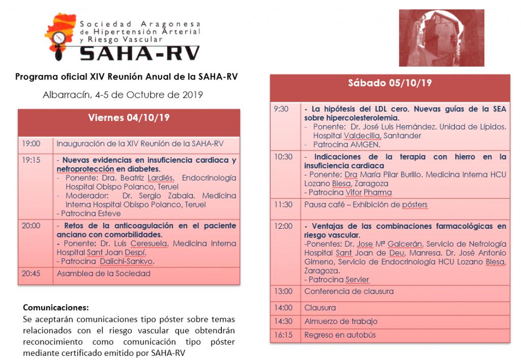 Programa oficial XIV Reunion anual SAHARV 2019